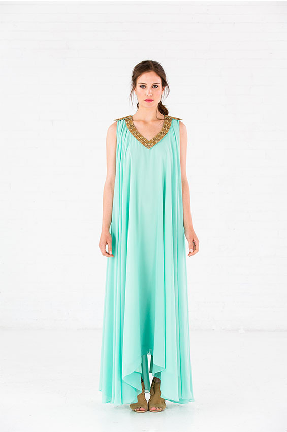 MAYA GOWN Chiffon Gown. Hand embellished neckline and shoulder detail. Comes fully lined